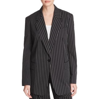 DKNY Womens Boyfriend Blazer Striped Long Sleeves