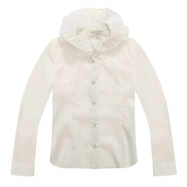 Richie House Baby Girls White Ruffled Collar Blouse 12M - 12 months