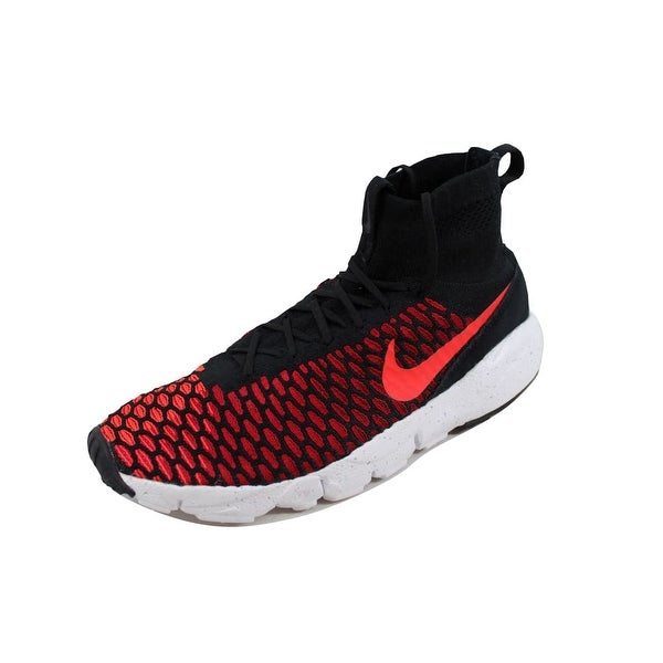 Nike Men's Air Footscape Magista Flyknit Black/Bright Crimson-Gym Red-Cool Grey 816560-002