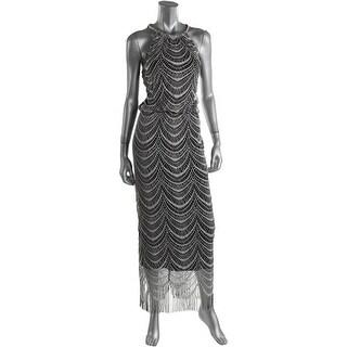 SL Fashions Womens Metallic Blouson Cocktail Dress