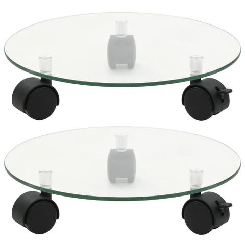 """vidaXL Plant Rollers 2 pcs Tempered Glass 11"""" Round"""