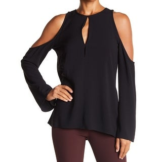 Theory Black Womens Size Large L Keyhole Cold-Shoulder Blouse