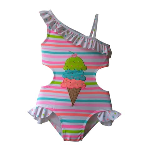 Girls One Piece One Shoulder Striped w/Ice Cream Applique - SPF 50