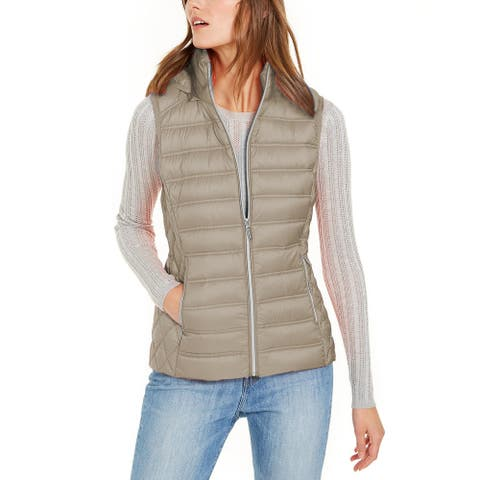 Michael Kors Womens Taupe Down Puffer Hooded Vest Jacket