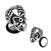 Surgical Steel Casted Ape Skull Fake Plug with O-Ring - 16GA (Sold Individually)