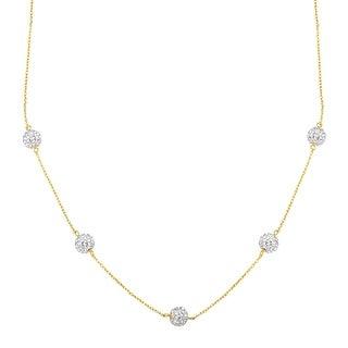 Station Necklace with Swarovski Crystal in 10K Gold
