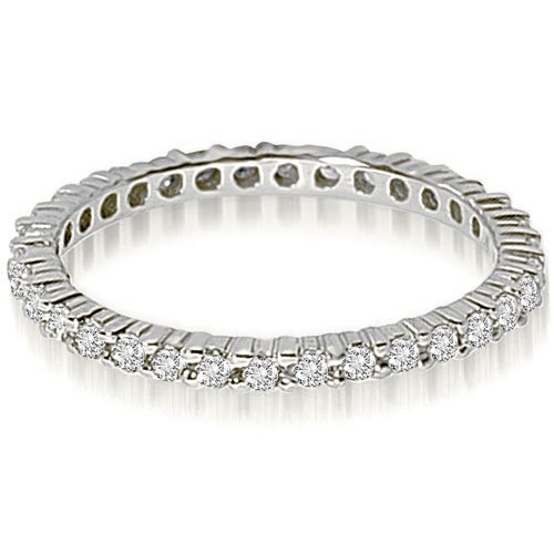 0.90 cttw. 14K White Gold Round Shared Prong Diamond Eternity Ring
