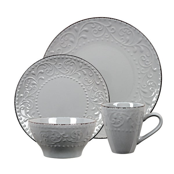 Lorren Home Trends 16 Piece Stoneware Scroll Dinnerware Set-Gray. Opens flyout.