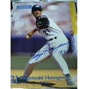Signed Hasegawa Shigetoshi Anaheim Angels 8x11 Official Angels Promo autographed