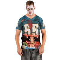 Mens Zombie Football Player Halloween T-Shirt, Multicolor - 2XL