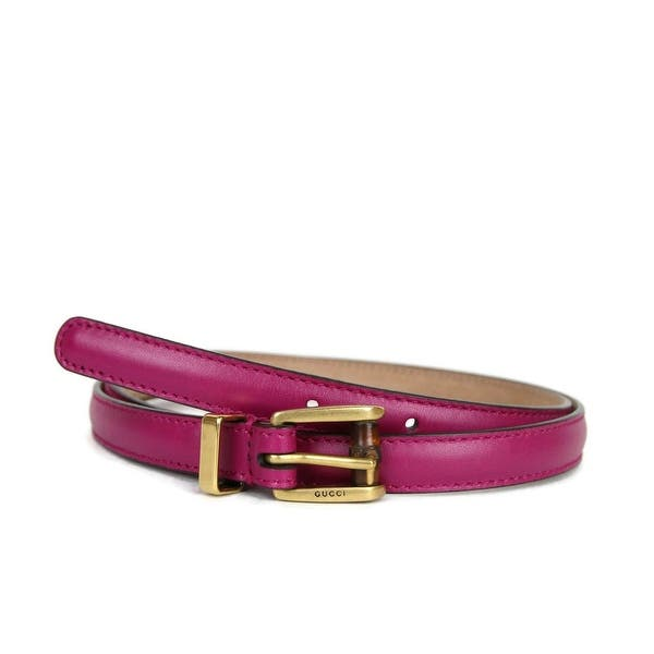 722fd16eb Shop Gucci Women's Leather Bamboo Skinny Buckle Belt 339065 - Free ...
