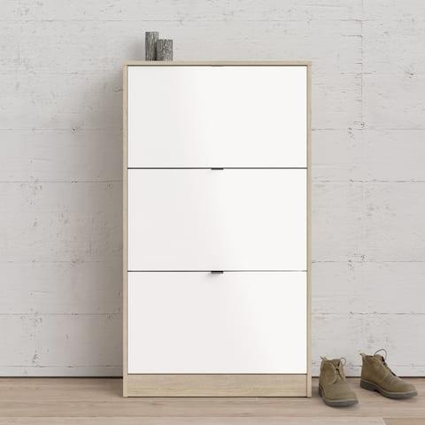 Porch & Den Bright Oak and White High Gloss 3 Flap Doors Shoe Cabinet