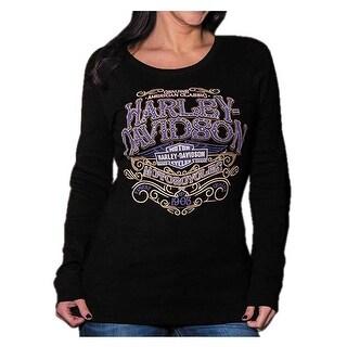 Harley-Davidson Women's Warrant Studded Long Sleeve Ribbed Shirt, Black