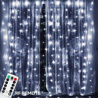 600LEDs, 8 Lighting Modes, 19.7ft x 9.8ft Curtain Light,5500K-6500K Daylight