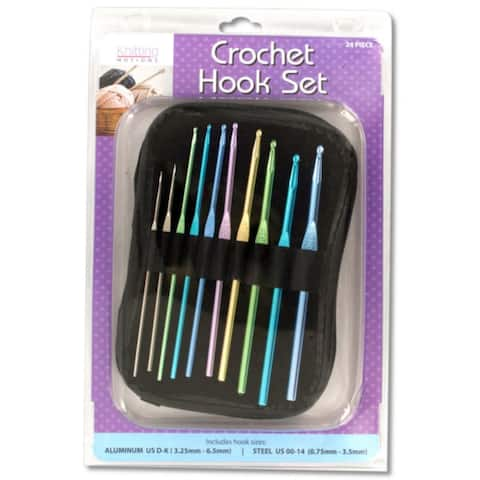 Pack of 2 Pink and Blue Aluminum and Steel 10-Piece Crochet Hooks Set with Case