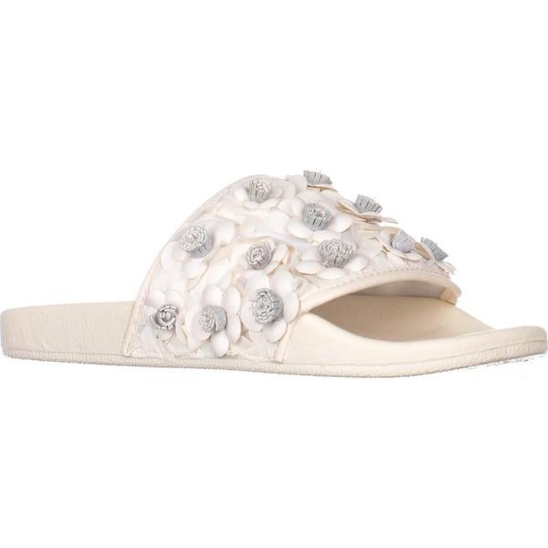 Avec Les Filles Stella Embellished Slide Sandals, White Floral