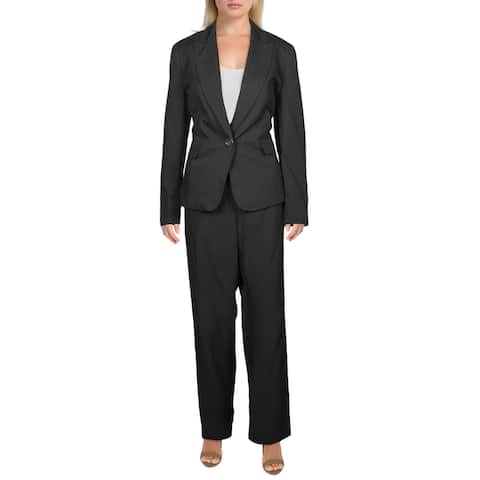 Le Suit Womens Pant Suit Business Office - Black/Grey - 10