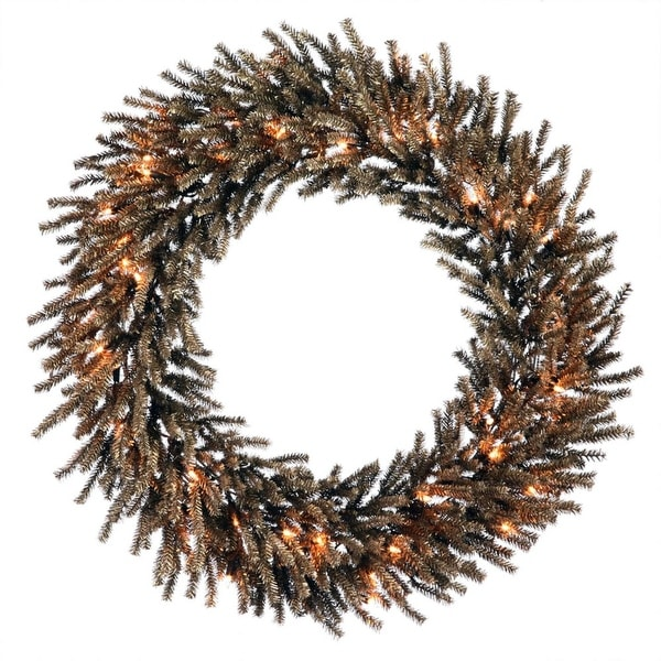 """24"""" Pre-Lit Sparkling Chocolate Brown Artificial Christmas Wreath - Clear Lights"""