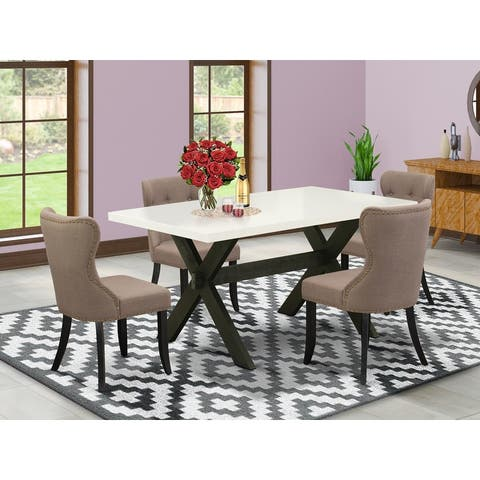East West Furniture Dining Set Included Parson Chair and Rectangular Linen White Table-Wirebrushed Black Finish-SI648