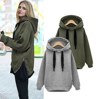 Women Fashion Solid Long Sleeve Loose Outwear Drawstring Hoodie Sweatshirt