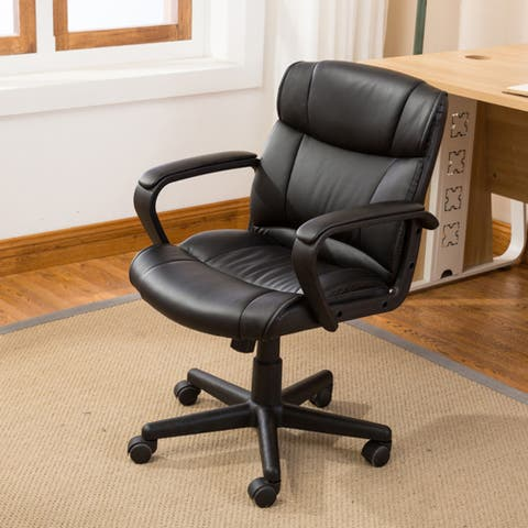 Belleze Mid-Back Office Chair Computer with Padded Armrest, Black