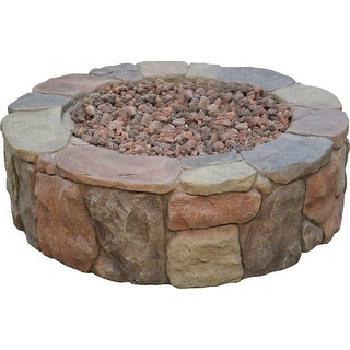 Shop The Rhodes Gas Outdoor Patio Stacked Stone Round Fire ...