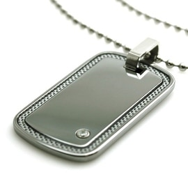 Tungsten Carbon Fiber Border Inlay Dog Tag Pendant Necklace