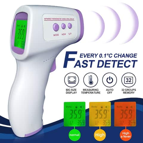 Baby Adult Digital Three-color Backlight LCD Display Thermometer IR Infrared Forehead No-contact Body Temperature - White