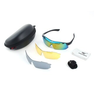 ROBESBON Authorized Outdoors Exchangeable Lens Cycling Glasses Set Blue Black