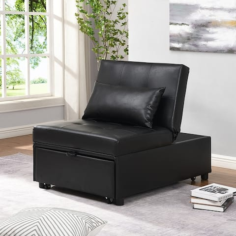 Moda Contemporary Faux Leather Folding Ottoman Sofa Bed