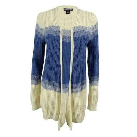 American Living Women's Open Knit Cardigan - Cream/Nordic Blue Heather - S