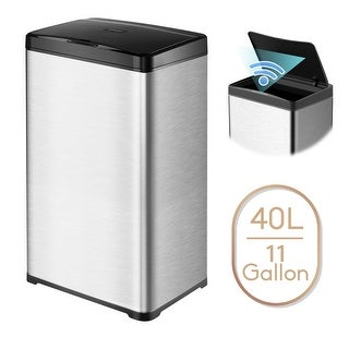 11 Gallon Automatic Trash Can Stainless Steel Touchless Motion Sensor Bin Soft Close Lid 40L LED Timer Under Kitchen Island