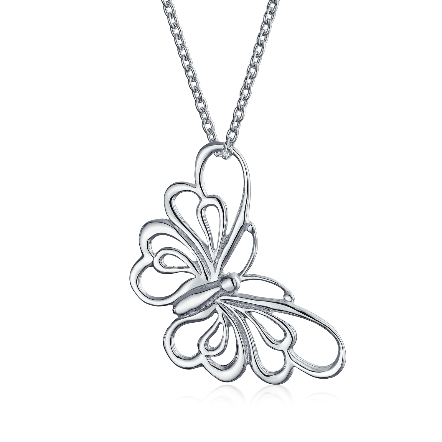 09801ec8a6af5c Shop Bling Jewelry Sideways Filigree Butterfly Pendant Silver Necklace 16  Inches - On Sale - Free Shipping On Orders Over $45 - Overstock - 17989220