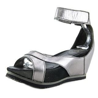 OTBT Time Traveler Women Open Toe Leather Gray Wedge Sandal
