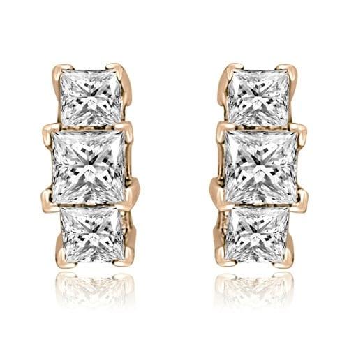0.90 cttw. 14K Rose Gold Three-Stone Princess Cut Diamond Earrings