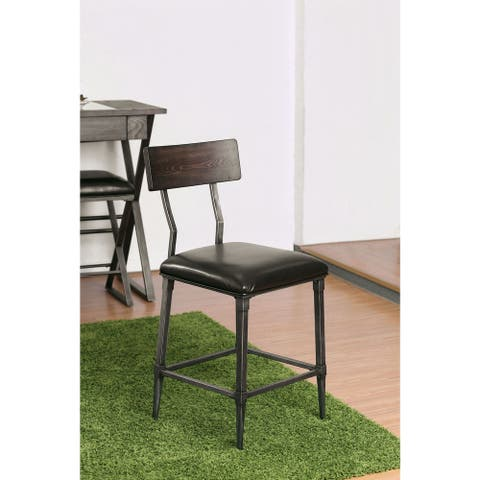 Furniture of America Larimere Industrial Black Counter Chairs (Set of 2)