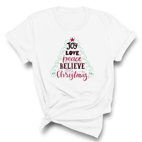 Joy Love Peace Believe Christmas Unisex T-Shirt