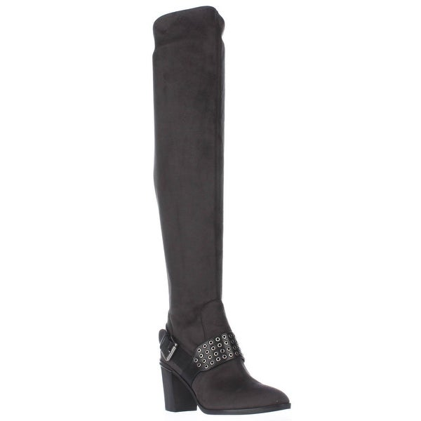 MICHAEL Micheal Kors Brody Washer Studded Over The Knee Boots, Charcoal