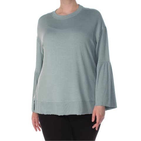 CALVIN KLEIN Womens Teal Bell Sleeve Crew Neck Top Size 1X