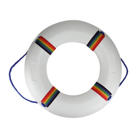 """21"""" White and Blue Swimming Pool Summer Safety Ring Buoy"""