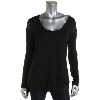 Love Scarlett Womens Casual Top Cold Shoulder Lace Trim