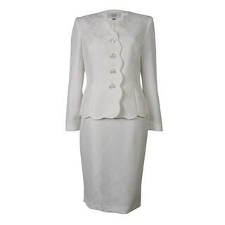 Le Suit Women's Rose Garden Scalloped Trim Skirt Suit