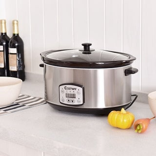 Costway 7 Quart Electric Slow Cooker Digital Kitchen Pot 6.5 Liters Capacity