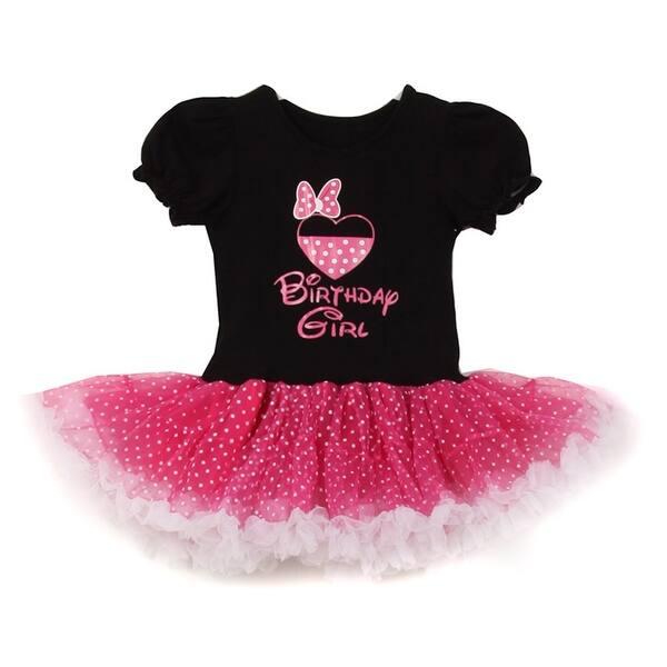 d50378a40b8bb Shop Little Girls Black Fuchsia Minnie Dotted Heart Bow Print Tutu ...