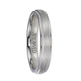 COURTLAND Raised Center Palladium Wedding Band with Wire Brush Finish and Milgrain Edges by ArtCarved Rings - 4mm