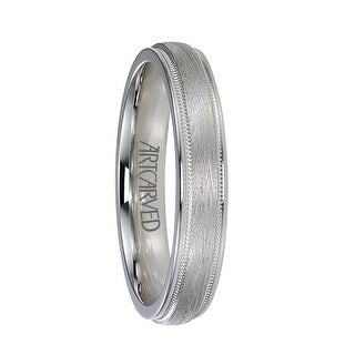 COURTLAND Raised Center Palladium Wedding Band with Wire Brush Finish and Milgrain Edges by ArtCarved Rings - 8mm