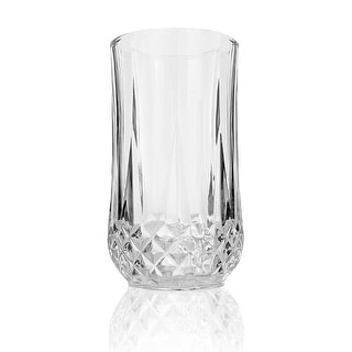 Palais Glassware 'Marseille' Collection, Elegant Diamond Cut Clear Glass set (Set of 4, 13 Ounce Hig