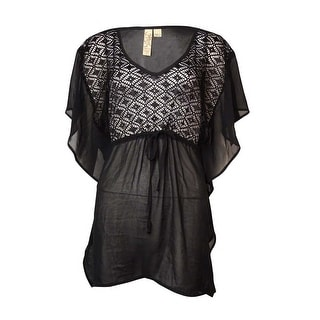 Link to Miken Women's Fluttered Crochet-Front Chiffon Swim Cover-Up Similar Items in Girls' Clothing