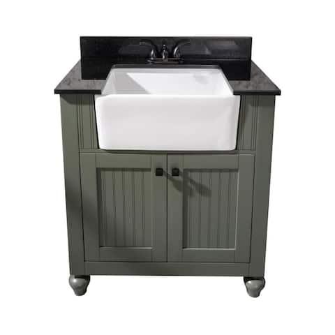 Legion Furniture 30-inch bathroom vanity in Pewter Green with black granite top WLF6022-PG