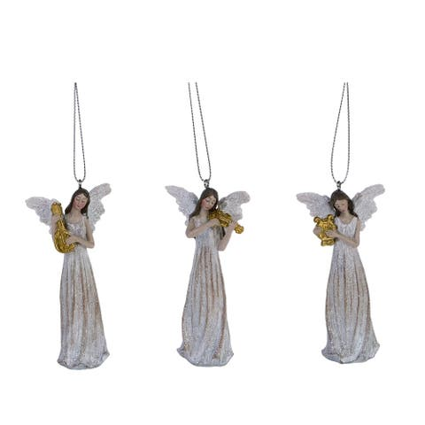 """3-Piece White and Brown Traditional Harmony Angel Christmas Ornaments 4"""""""